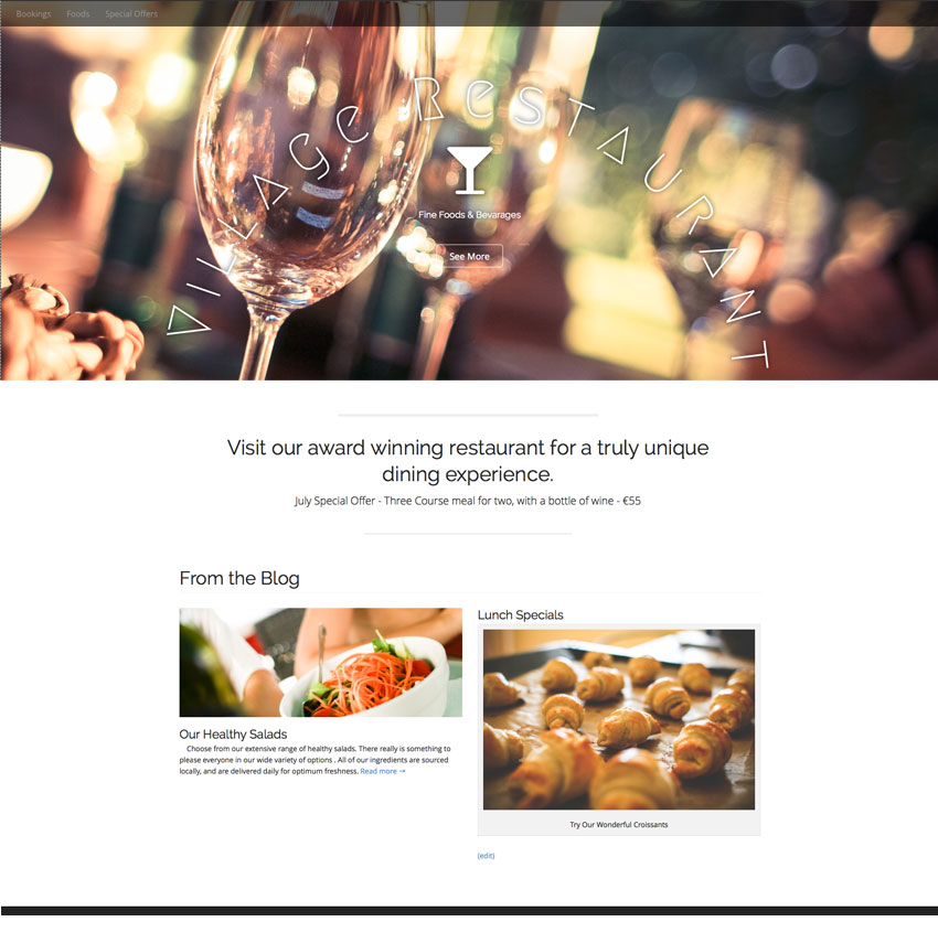 Website Design For A Restaurant